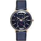 ADEXE 英國時尚手錶 THEY三眼系列 藍錶盤x玫瑰金錶框皮革錶帶41mm