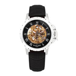 Manlike曼莉萊克羅馬鏤空雕花限量機械錶 銀色 黑面 黑色帶