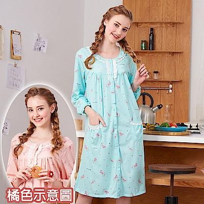 睡衣 繽紛派對 針織棉長袖連身睡衣(R75207-15粉橘) 蕾妮塔塔