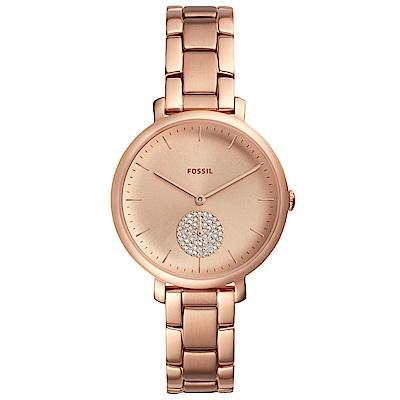 FOSSIL Jacqueline閃耀晶鑽時尚手錶(ES4438)-玫瑰金/36mm