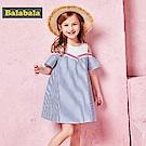 Balabala巴拉巴拉-假兩件拼接感直紋襯衫洋裝-女(藍色)