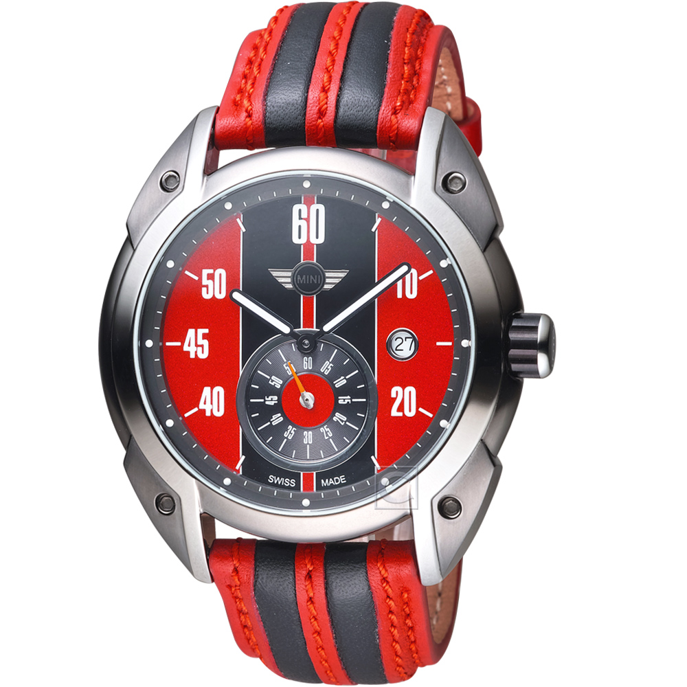 MINI Swiss Watches Cooper復古賽車錶(MINI-160301)-紅