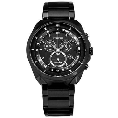 CITIZEN 星辰表 光動能經典三眼計時碼錶不鏽鋼手錶-鍍黑/43mm