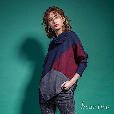 beartwo 趣味不規則拼接連帽休閒針織上衣(二色)