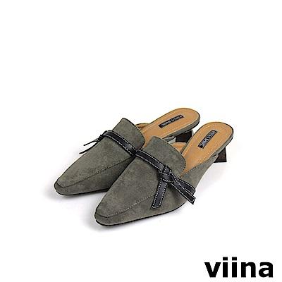 viina Basic黑綁帶木紋跟穆勒鞋 - 黑灰
