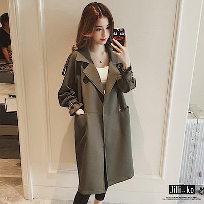 Jilli-ko 韓版中長款西裝領風衣外套-深綠
