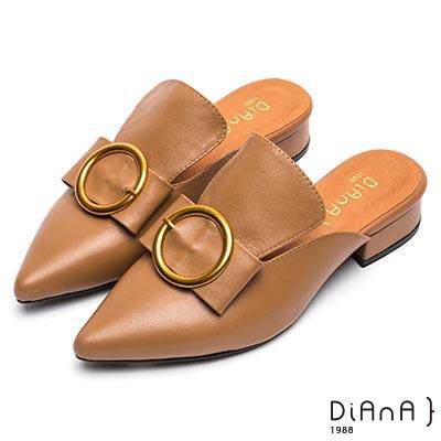 DIANA 百變甜心-2WAY質感金屬飾釦穆勒鞋-附2種飾釦-棕