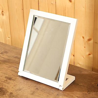 BuyJM 優雅白實木長型桌上鏡/化妝鏡