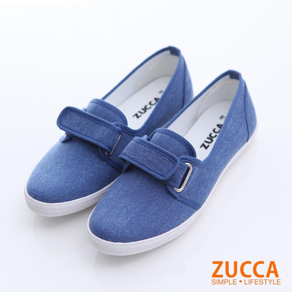 ZUCCA-素面魔鬼氈平底鞋-藍-z6318be