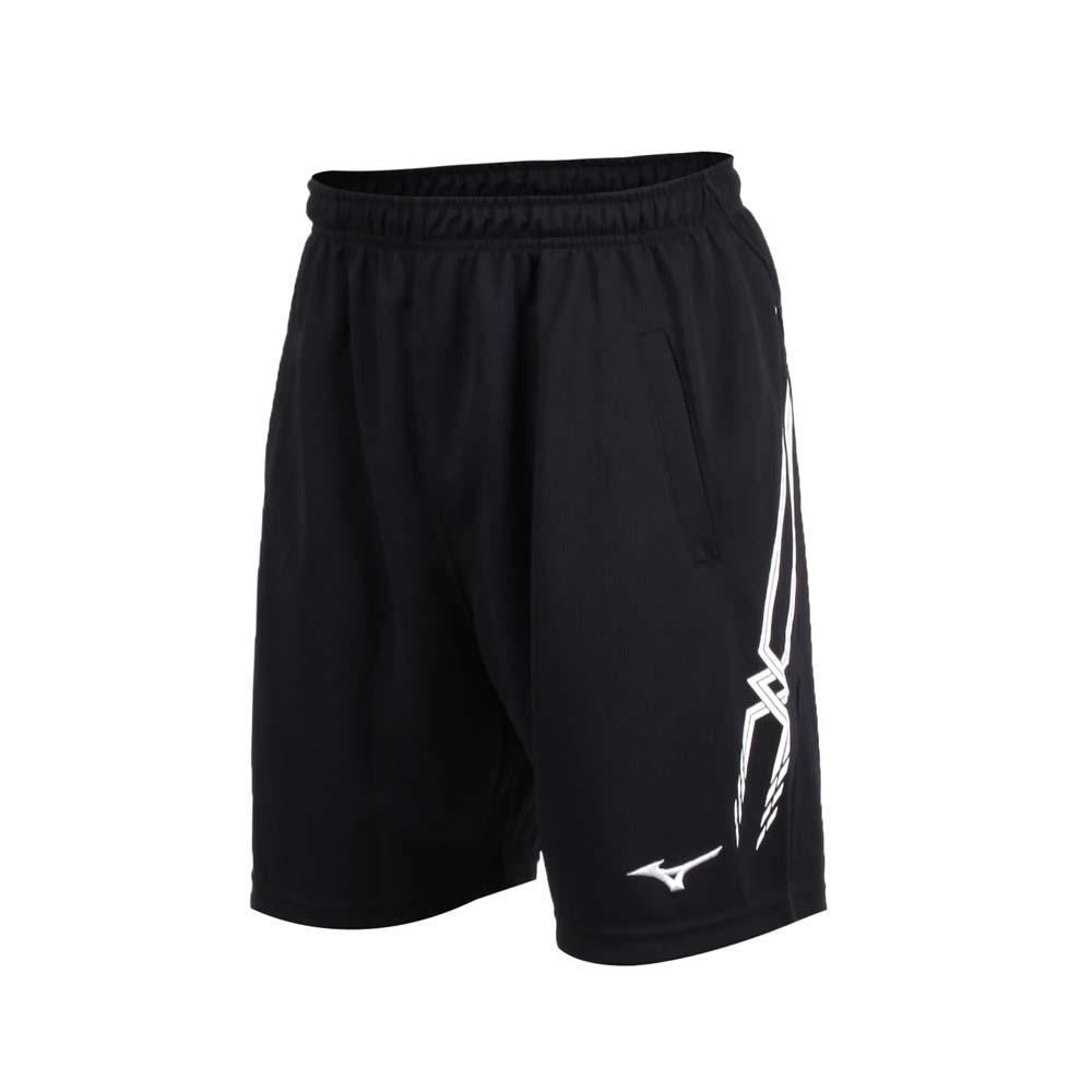 MIZUNO 男排球短褲-運動短褲 五分褲 慢跑 路跑 美津濃 黑白