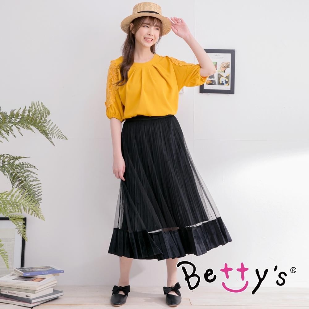 betty's貝蒂思 彈性腰圍絨布拼接長紗裙 (黑色)