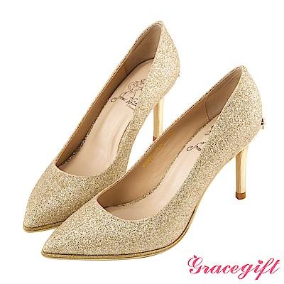 Disney collection by Grace gift蝴蝶結鑽釦金蔥高跟鞋 金