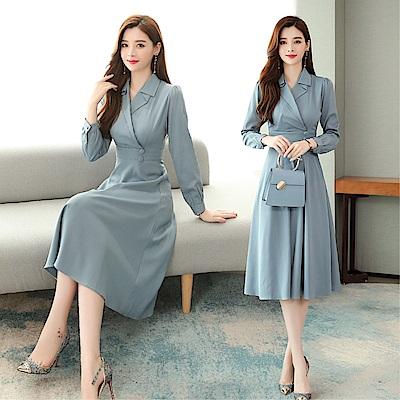 DABI 韓國風名媛西裝V領修身收腰氣質優雅長袖洋裝