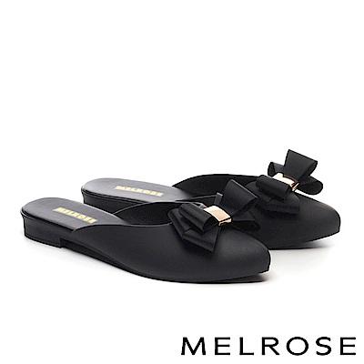 拖鞋 MELROSE 典雅蝴蝶結造型低跟拖鞋-黑