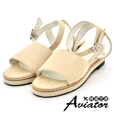 Aviator*韓國空運-絨面顯瘦寬帶繞踝增高涼鞋-米