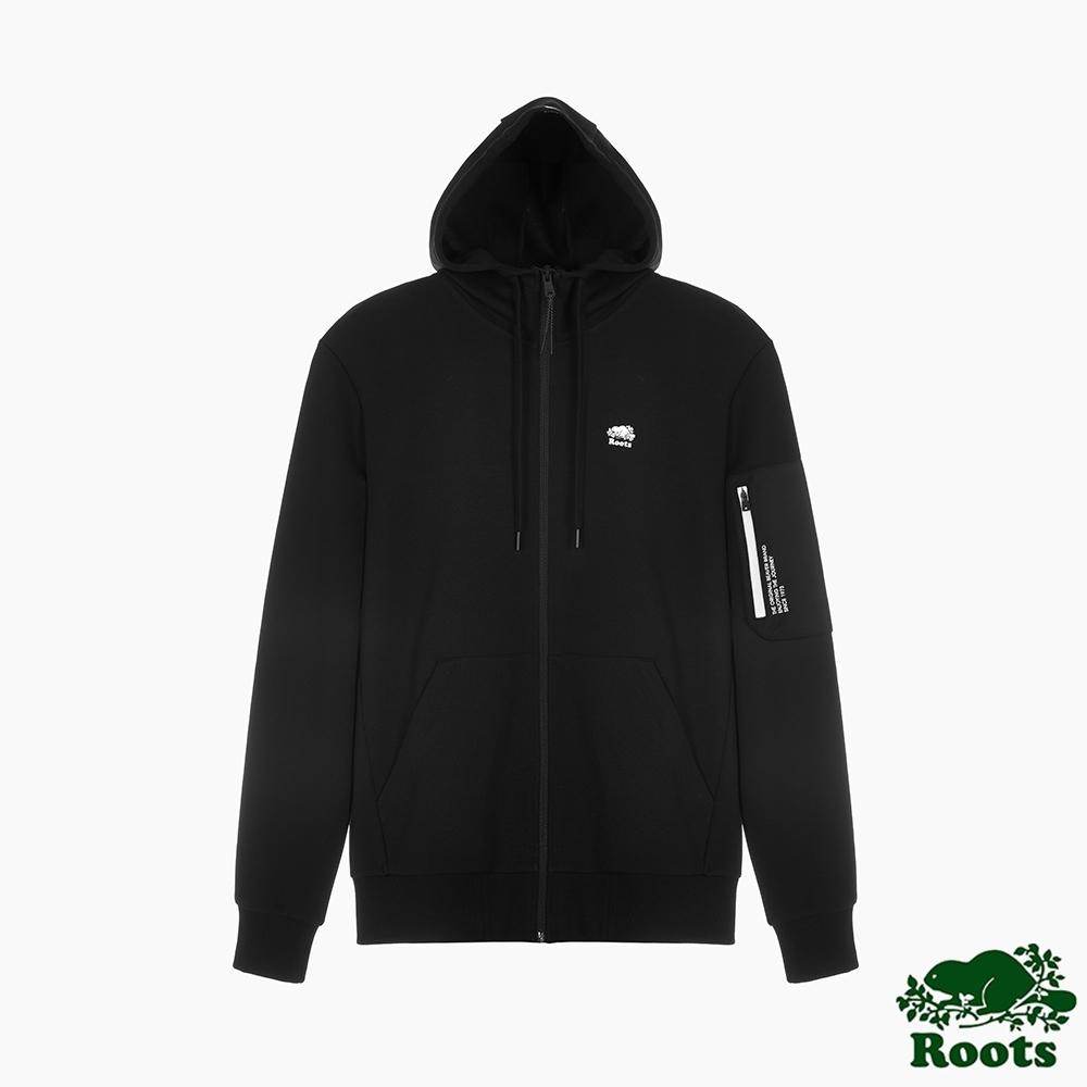 Roots男裝-城市悠遊系列 海狸LOGO連帽外套-黑色