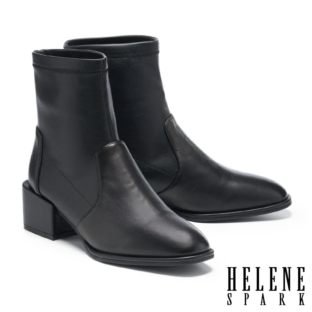 短靴 HELENE SPARK 極簡時尚純色拼接造型高跟短靴-黑