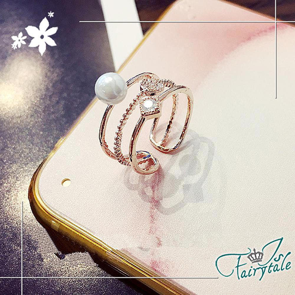 iSFairytale伊飾童話 珍珠方鑽 三環玫瑰金開口戒指 13號