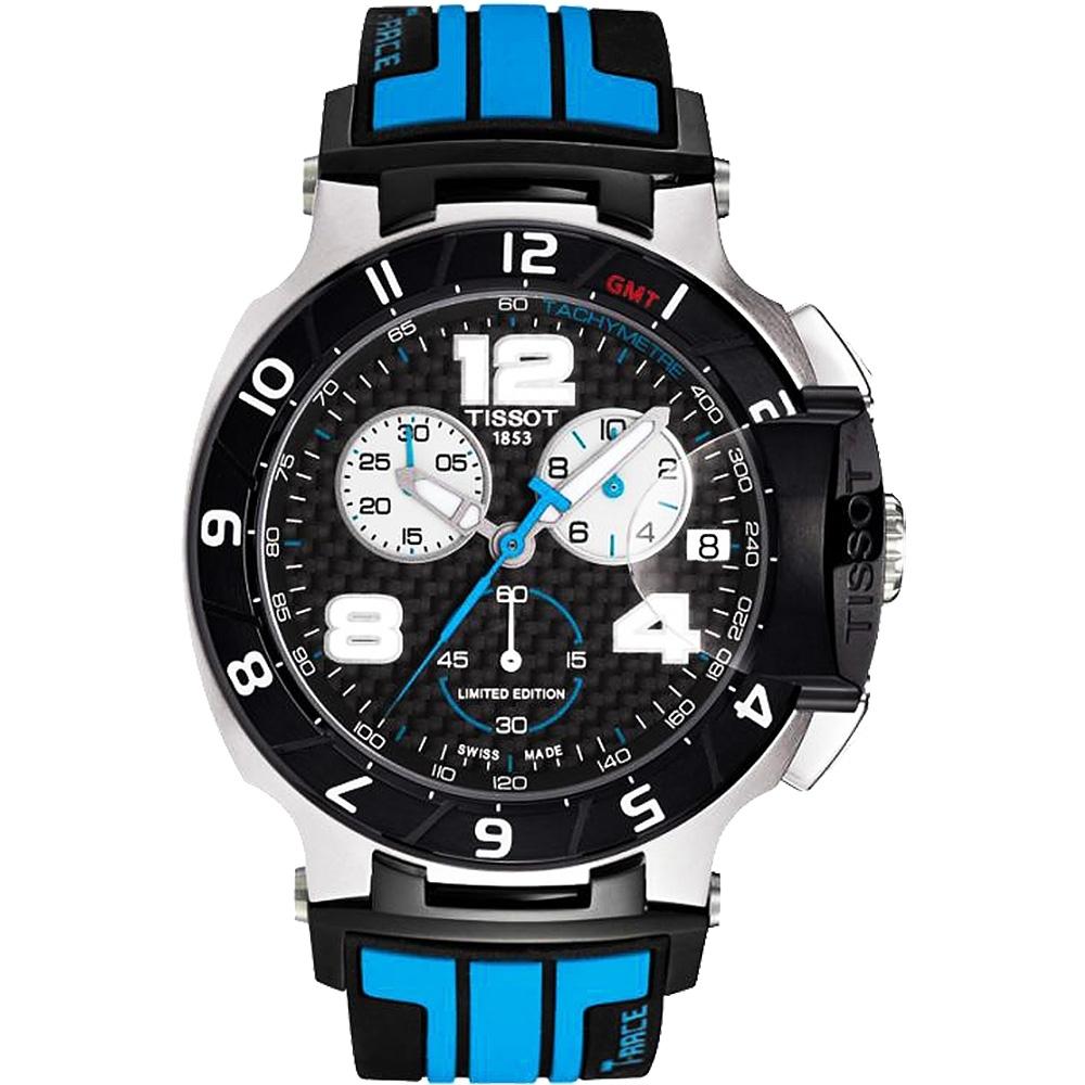 TISSOT T-Race MotoGP 專業限量賽車計時腕錶-黑x藍/45mm T0484172720700