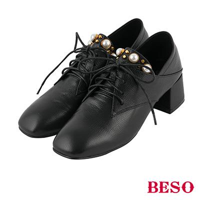 BESO 雅痞風格 2way後踩式全真皮珍珠綁帶踝靴~黑