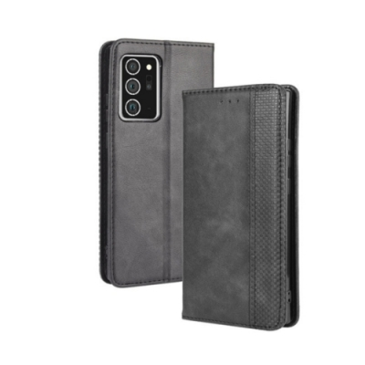 PKG 三星Galaxy Note20 復古流行皮套-黑