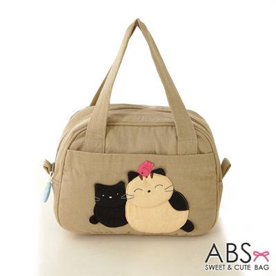 ABS貝斯貓 可愛貓咪手工拼布手提包 提袋(淺卡其)88-023