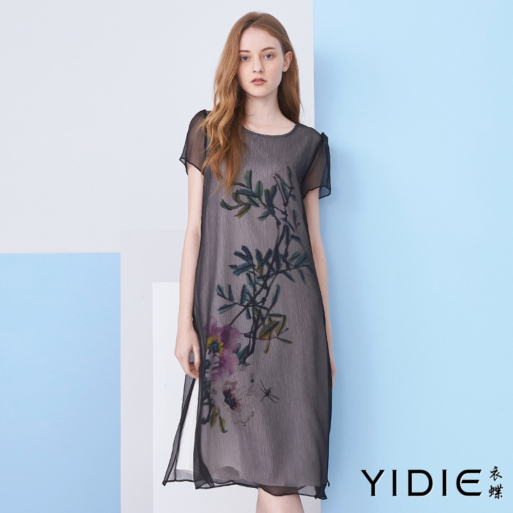 【YIDIE衣蝶】水墨印花雪紡紗透視洋裝
