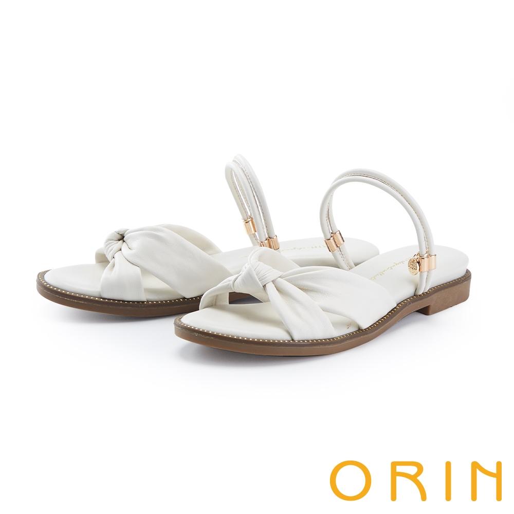 ORIN 交叉扭結羊皮平底 女 涼拖鞋 白色