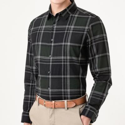 Christian 蘇格蘭格紋休閒襯衫_綠黑格(RW822-48)