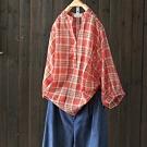 小立領純棉燈籠袖格子襯衫七分袖上衣-設計所在
