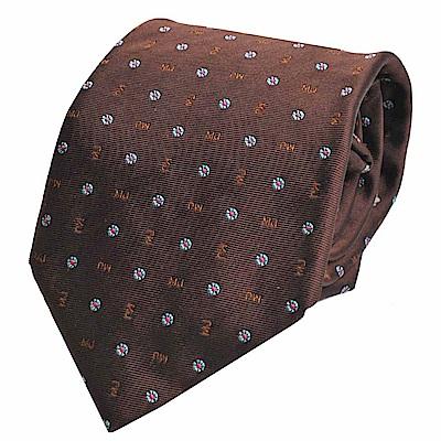 MARC JACOBS 繽紛字母品牌圖騰LOGO高質感絲質領帶(咖啡色系) @ Y!購物