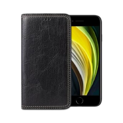 Fierre Shann 樹皮紋 iPhone SE2/7/8 (4.7吋) 錢包支架款 磁吸側掀 手工PU皮套保護殼