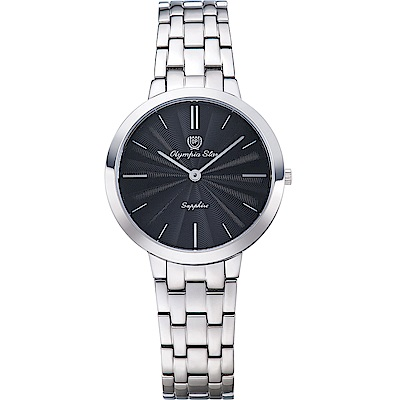 OlympiaStar 奧林比亞之星 時尚水波紋腕錶-黑/34mm  58060LS