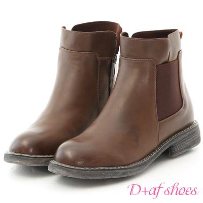 D+AF 街頭率性.側鬆緊拼接軍風短靴*棕