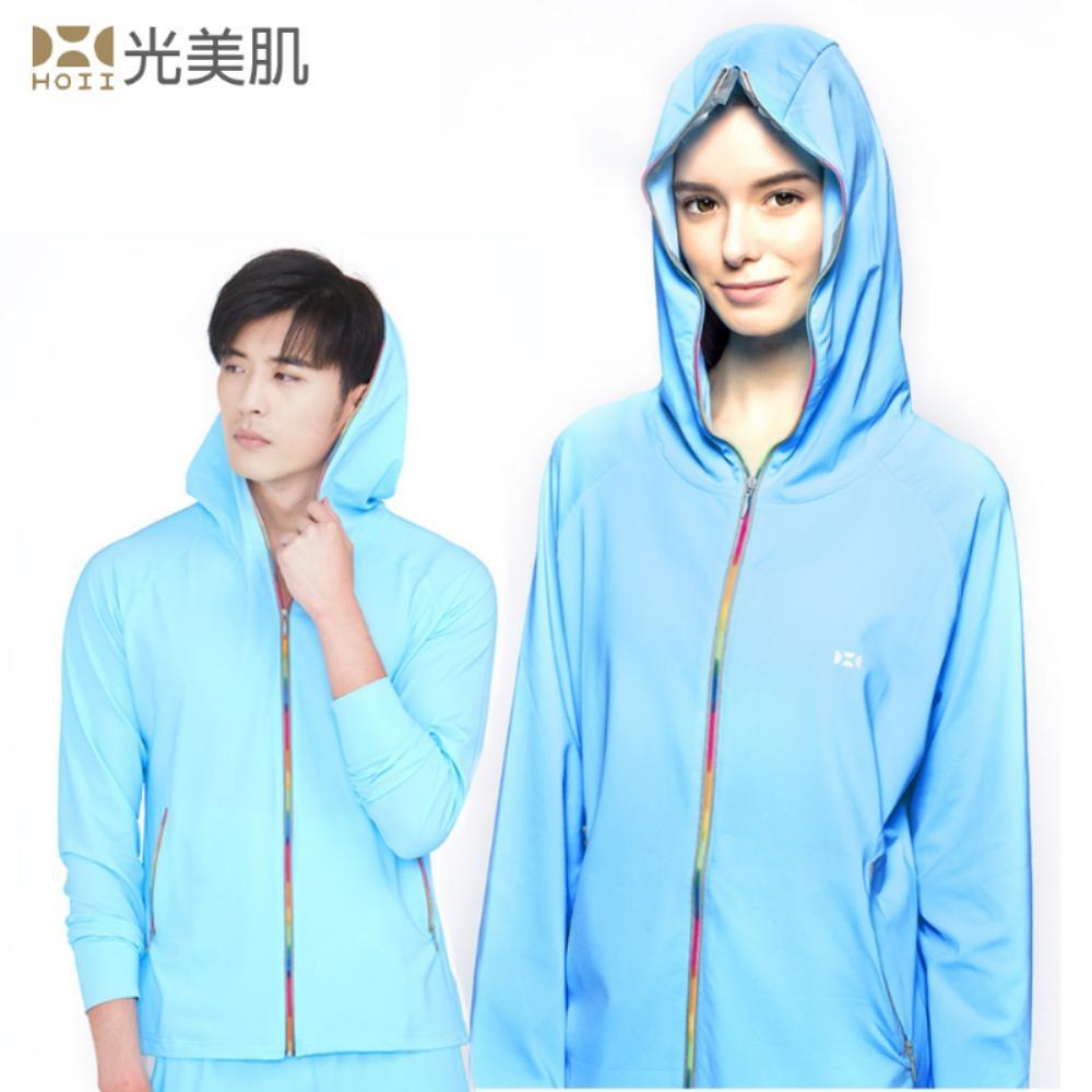 HOII光美肌后益先進光學布-美膚光能防曬全功能拉鍊連帽T恤外套(藍光)
