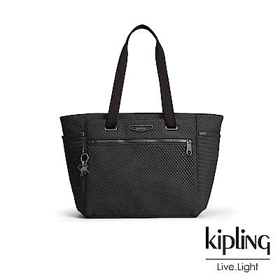 Kipling 復古霧黑壓線雙側袋側背包-ORINTHIA