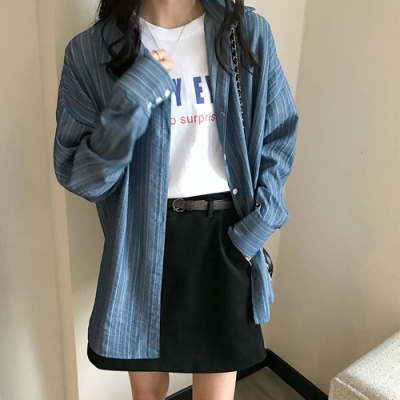 2F韓衣-韓系百搭條紋襯衫-新-藍(S-XL)