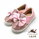 天使童鞋 俏麗亮點大蝴蝶休閒鞋(中-大童) D8038B-粉