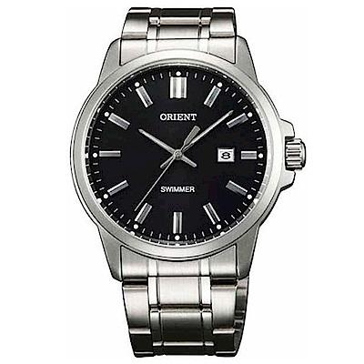 ORIENT東方錶 經典老派作風石英腕錶鋼帶(SUNE5003B0)-黑面x40mm