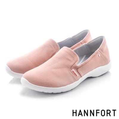 HANNFORT EASY WALK簡約帆布氣墊健走鞋-女-粉