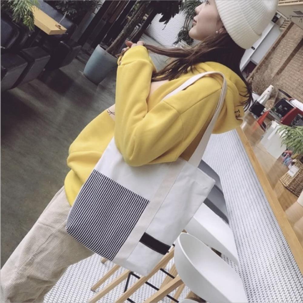 【89 zone】韓風簡約百搭拼接條紋單肩/帆布包 (白)