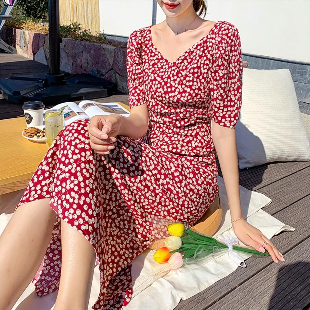 法式甜雅櫻桃印花泡泡袖高腰修身洋裝S-XL-Dorri