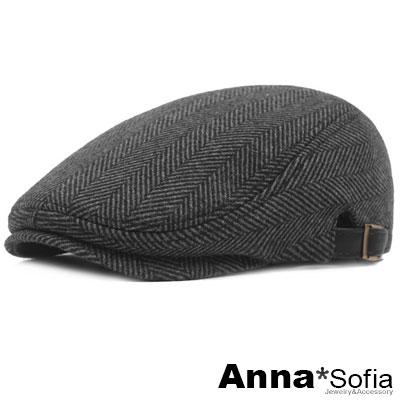 AnnaSofia 葉脈斜紋 毛料鋪棉鴨舌帽小偷帽(黑系)