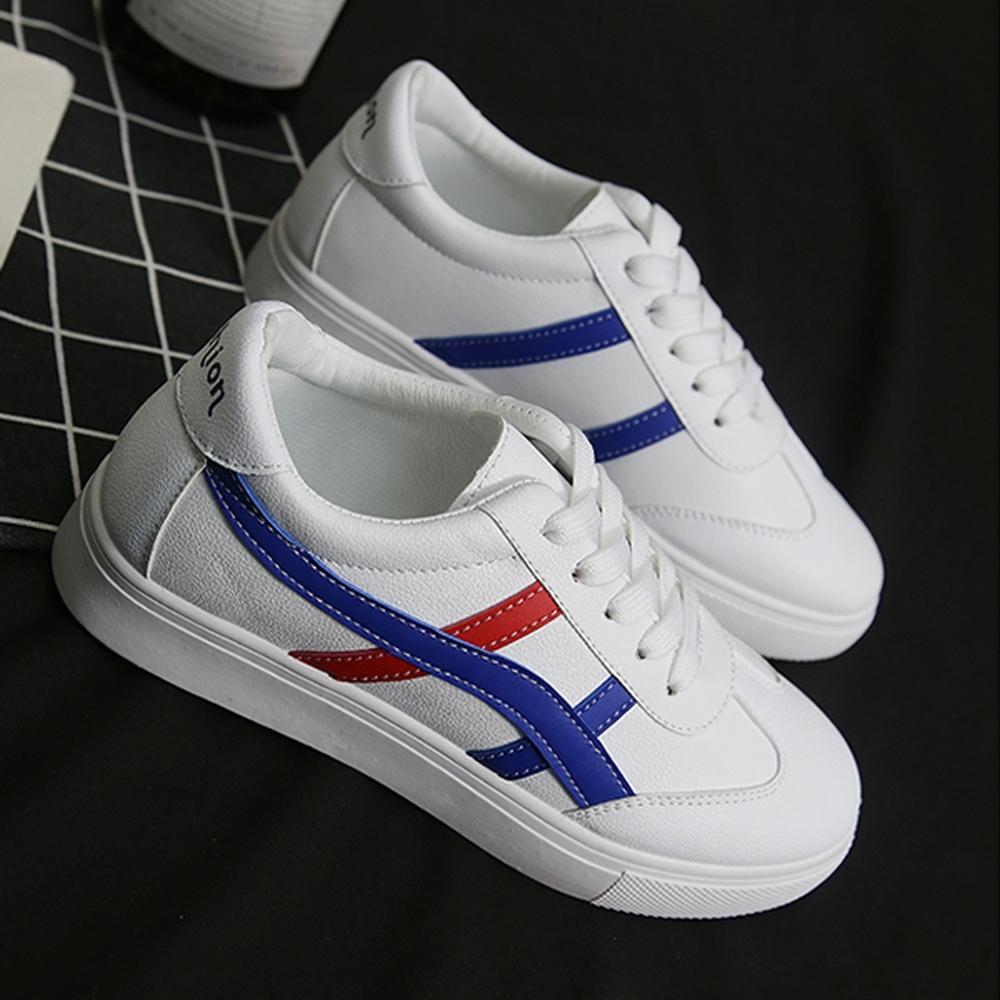 韓國KW美鞋館-歐美玩酷拼色學生板鞋-藍色