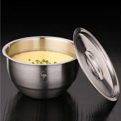 PUSH!餐具加厚304不鏽鋼碗帶蓋碗蒸蛋泡麵碗蒸飯燉湯盅碗帶蓋E129