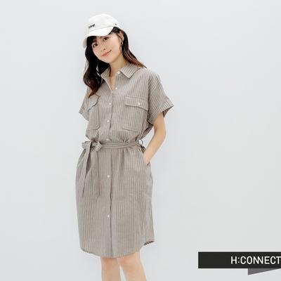 H:CONNECT 韓國品牌 女裝-雙口袋棉麻長版襯衫洋裝-咖啡