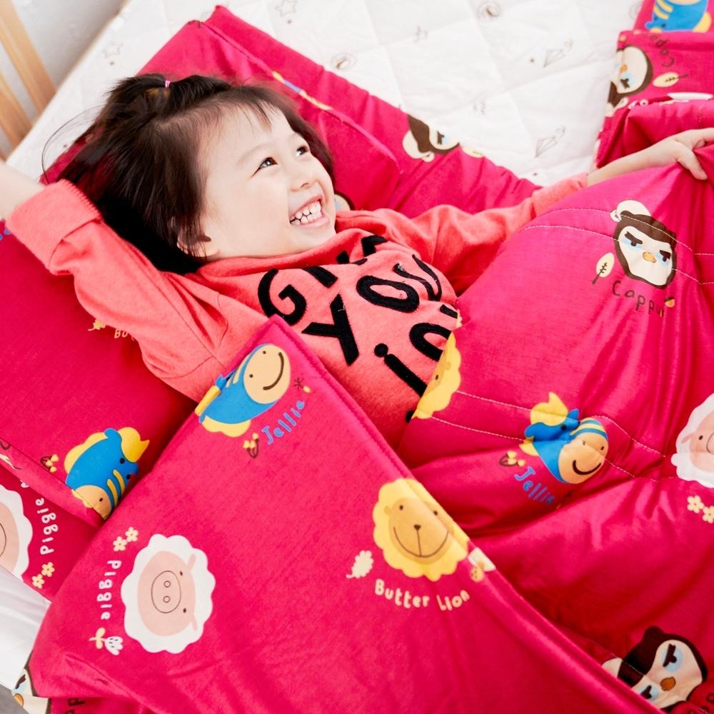 奶油獅-同樂會系列-台灣製造100%精梳純棉兒童涼被/夏被(莓果紅)4x5尺