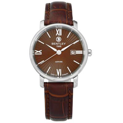 BENTLEY 賓利 放射錶盤 德國製造 藍寶石水晶玻璃 壓紋真皮手錶-咖啡色/32mm