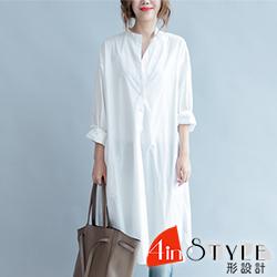 簡約清新寬版開衩長袖襯衫 (白色)-4inSTYLE形設計
