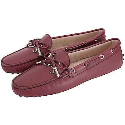 TOD'S Gommino 新版字母防刮牛皮休閒豆豆鞋(女鞋/紅梨色)